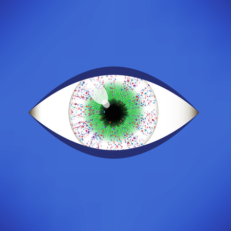 disbelief: Green Eye Icon Isolated on Soft Blue Background