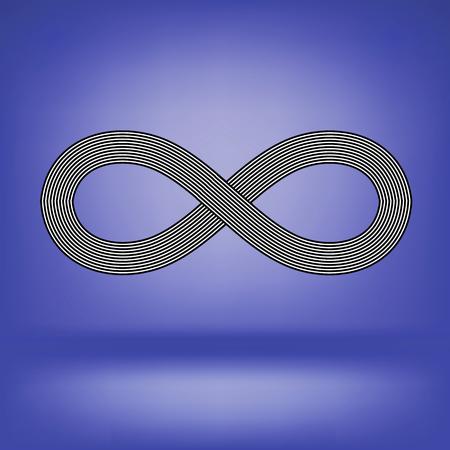 Striped Infinity Icon Isolated on Soft Blue Background Illusztráció