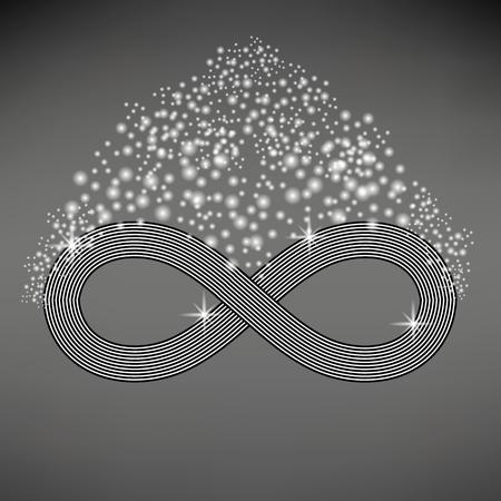 Striped Infinity Icon Isolated on Light Gray Background Illusztráció