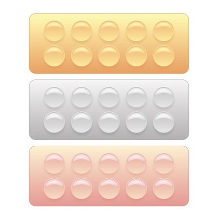 blisters: Set of Colorful Pills Blisters Isolated on White Background