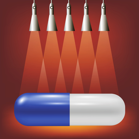 red pill: Single Pill on Soft Light Red Background. Illustration