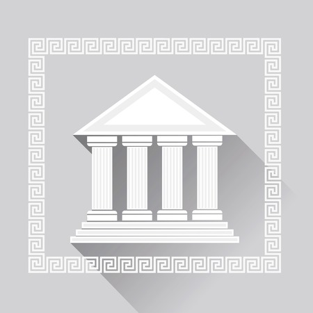 ancient civilization: Greek Pillars Icon Isolated on Grey Background. Long Shadow.