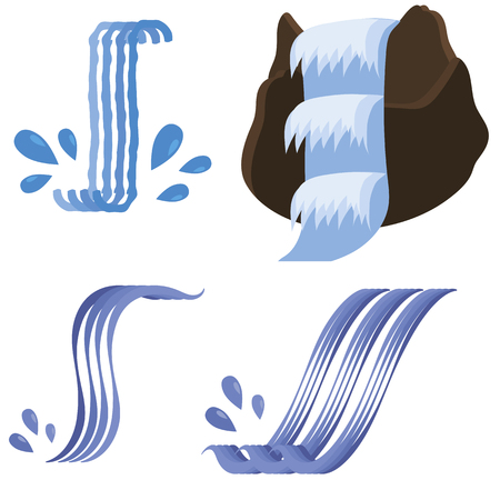 Set of Different Waterfalls Icons Isolated on White Background Stock Illustratie