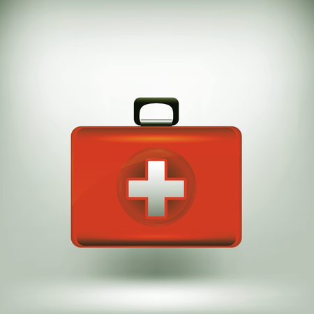 medical preparation: First Aid  Kit Isolated on Grey Soft Background