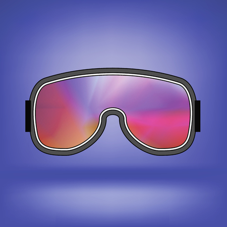 goggle: Ski Goggle with Colorful Glasses Isolated on Blue Soft Background