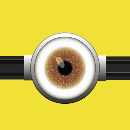 Goggle with One Brown Eye on Yellow Color Background