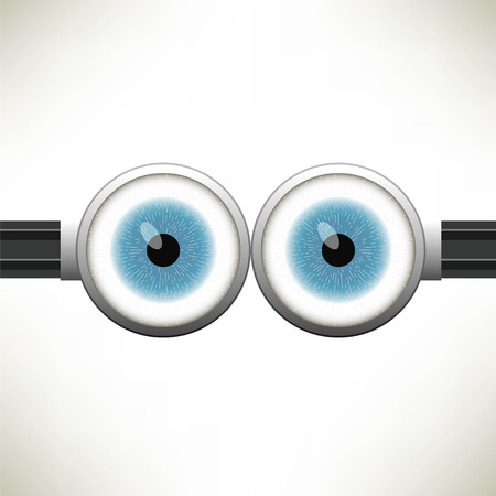 goggle: Goggle with Two Blue Eyes on White Color Background