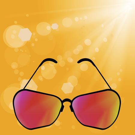 Gafas de sol en fondo amarillo borroso verano Ilustración de vector