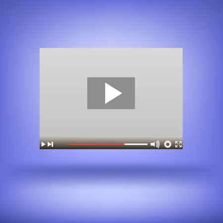 windows media video: Video Player Icon Isolated on Soft Blue Background Illustration