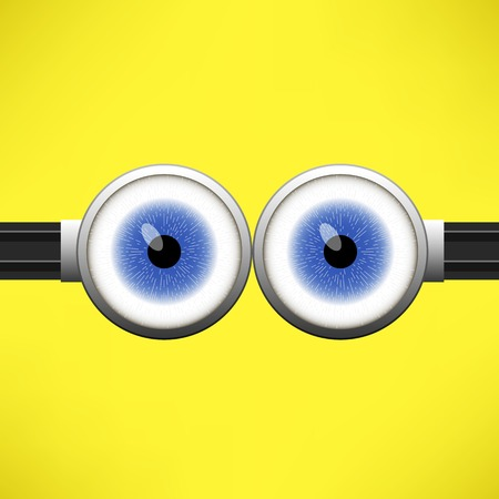 stare: Goggle with Two Blue Eyes on Yellow Color Background
