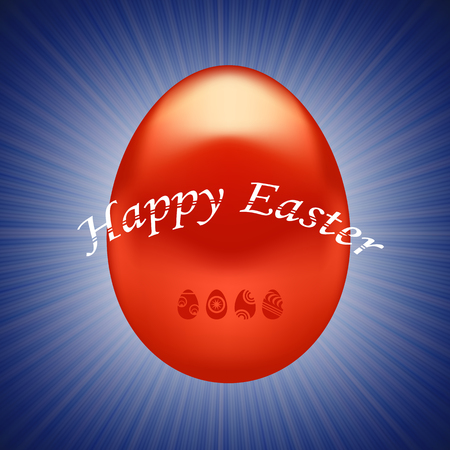 paschal: Red Easter Egg Isolated on Wave Blue Background