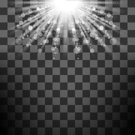 starshine: Transparent Sun Light on Checkered Background. Shiny Sunburst of Sunbeams. Illustration