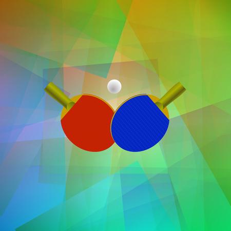ping pong: Dos raquetas de ping-pong con la pelota. Icono realista de tenis aislada en el fondo colorido