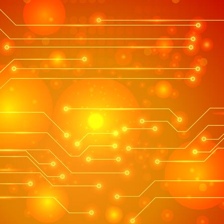 Modern Computer Technology Orange Background. Circuit Board Pattern. High Tech Printed Circuit Board