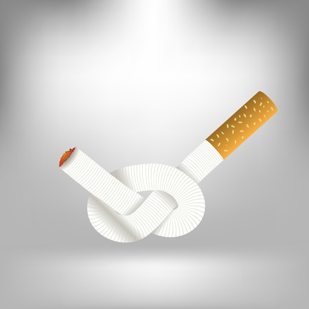 knotted: Single Cigarette Knotted and Isolated on Gray Soft Background. Health Care Concept.