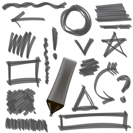 correction lines: Gray Marker Isolated on White Background. Set of Graphic Signs. Arrows, Circles, Correction Lines