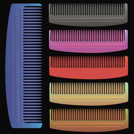 combs: Set of Colorful Combs Isolated on Black Background Stock Photo