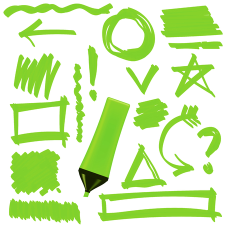 correction lines: Green Marker Isolated on White Background. Set of Graphic Signs. Arrows, Circles, Correction Lines
