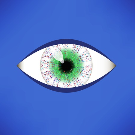 green eye: Green Eye Icon Isolated on Soft Blue Background