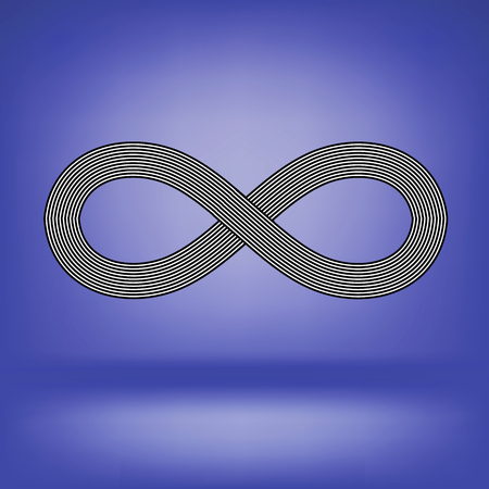 infinity icon: Striped Infinity Icon Isolated on Soft Blue Background Stock Photo