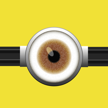 goggle: Goggle with One Brown Eye on Yellow Color Background