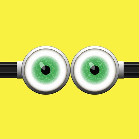 green eyes: Goggle with Two Green Eyes on Yellow Color Background Stock Photo