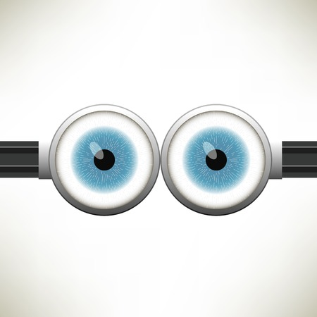 Goggle with Two Blue Eyes on White Color Background