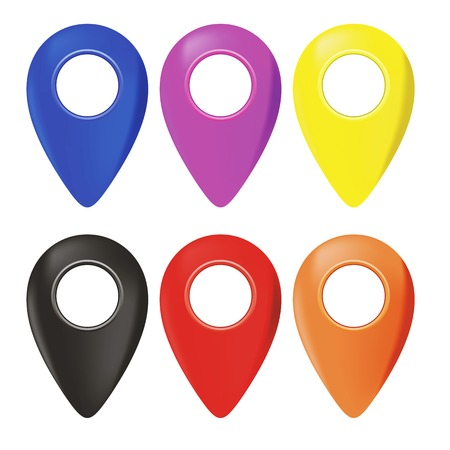 Set of Map Marker Pin Icons Isolated on White Background Archivio Fotografico