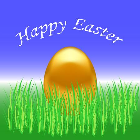 gold egg: Spring Easter Card. Gold Easter Egg on Green Grass Background