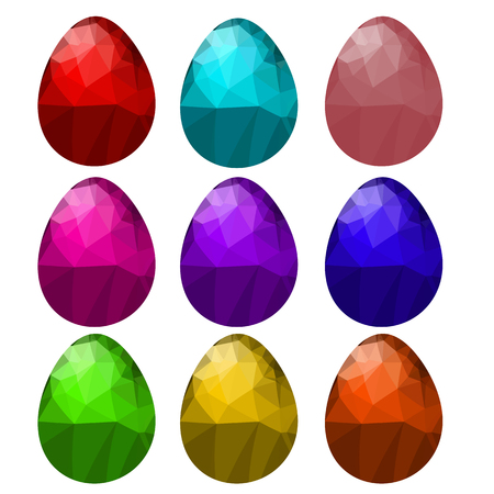 paschal: Set of Colorful Polygonal Easter Eggs Isolated on White Background