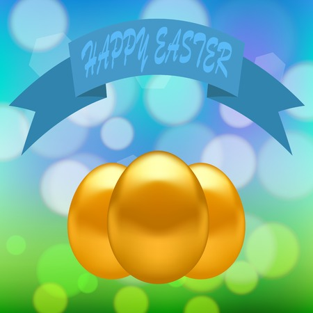 gold eggs: Gold Easter Eggs on Colorful Blurred Spring Background