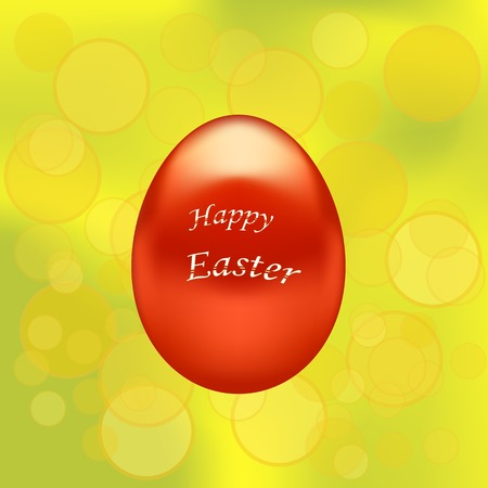 paschal: Red Easter Eggs on Yellow Blurred Spring Background