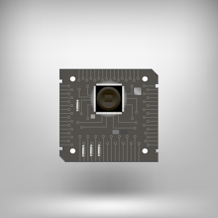 background part: Circuit Isolated on Soft Gray Background. Part of Computer