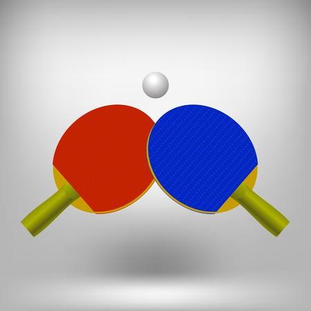 ping pong: Dos raquetas de ping-pong con la pelota. Icono realista de tenis aislada en fondo gris suave Foto de archivo