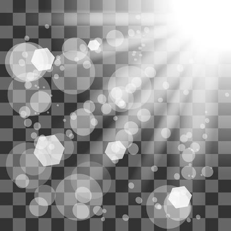 Transparent Sun Light on Checkered Background. Shiny Sunburst of Sunbeams. Stock Photo - 54564551