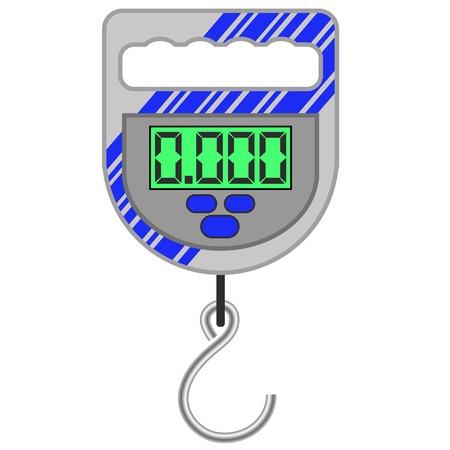balanza de laboratorio: Báscula electrónica portátil para la pesca aislado en el fondo blanco Vectores