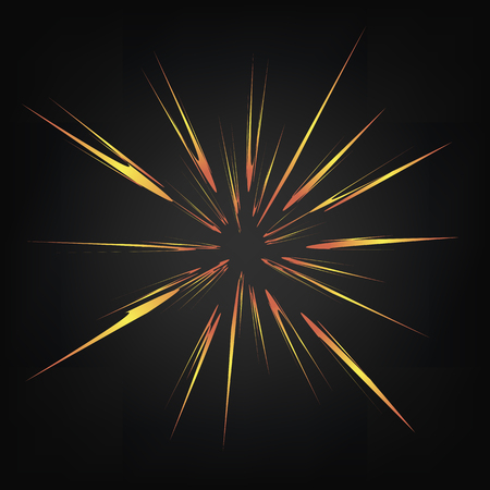 Explode Flash, Cartoon Explosion, Star Burst Isolated on Dark Background