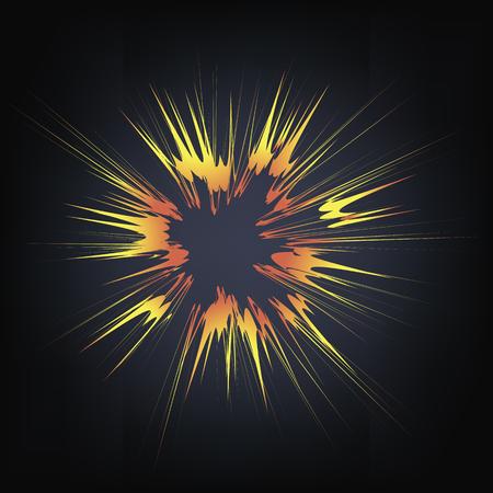 blasting: Explode Flash, Cartoon Explosion, Star Burst Isolated on Black Background Illustration