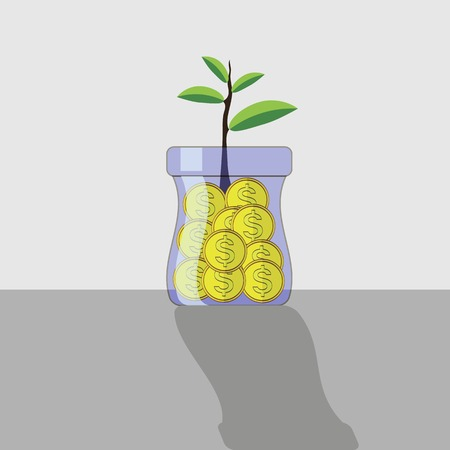 adding: Yellow Metal Coins in Glass Jar. Money Concept. Illustration
