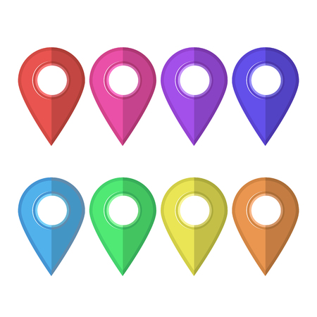 Conjunto de marcadores de colores aislados sobre fondo blanco. Iconos del Mapa del marcador. Diseño plano