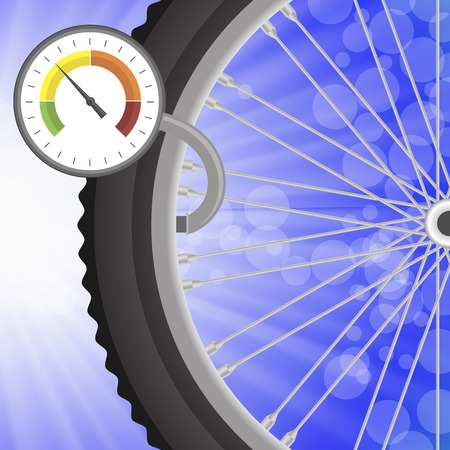 manometer: Manometer and Part of Bicycle Wheel on Bllurred Bllue Rays Background. Measuring Pressure in the Wheel. Illustration