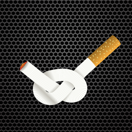 tobacco product: Single Cigarette Knotted and Isolated on Steel Grid Background. Health Care Concept. Stock Photo