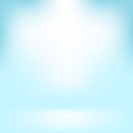azure: Empty Studio. Light Azure Abstract Background with Radial Gradient Effect. Spotlights Blurred Background. Flat Wall and Floor in Empty Spacious Room Interior for Your Products