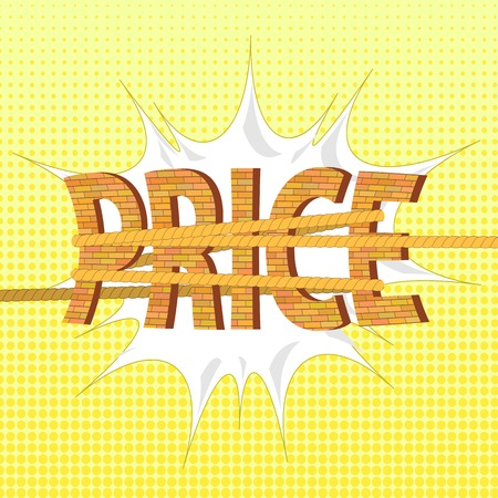 tightening: Related Orange Brick Letters on Yellow Halftone Background. Price Concept