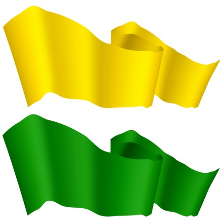 green banner: Flags Fluttering in the Wind. Green and Yellow Ribbons Isolated on White Background. Two Horizontal Curled Banners