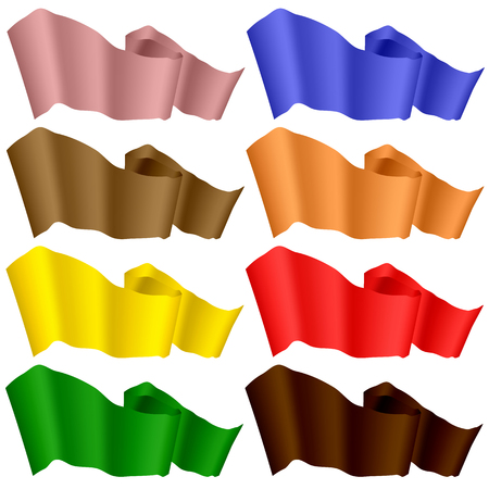 velvet ribbon: Flags Fluttering in the Wind. Colorful Ribbons Isolated on White Background.  Horizontal Colored Curled Banners