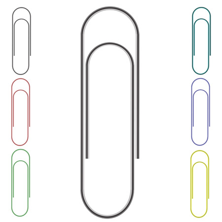 paper clips: Set of Colorful Paper Clips Isolated on White Background