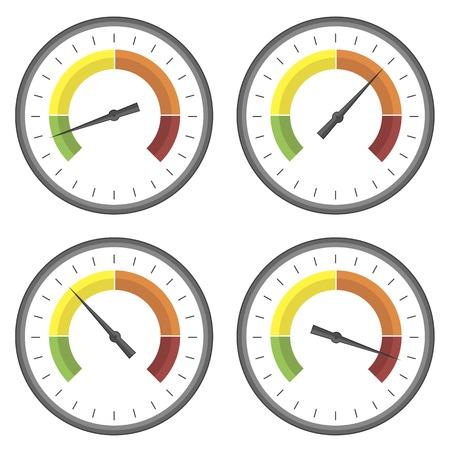 Set Manometer Icons auf weißem Hintergrund. Verschiedene Spur Readinngs. Standard-Bild - 54945078