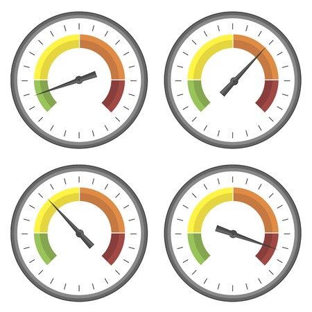 compression tank: Set of Manometer Icons on White Background. Different Gauge Readinngs.
