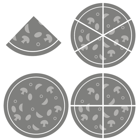 melted cheese: Pizza  Icon Isolated on White Background. Silhouette of Pizza